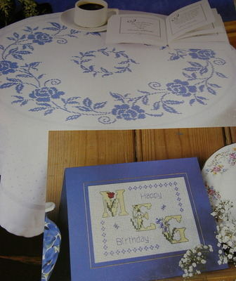 Spring Flower ABC & Blue Rose Table Linen ~ Cross Stitch Charts
