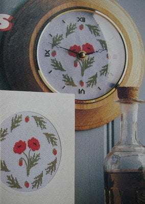 Poppy Flower Clock Card Cross Stitch Chart Patterns For Sale