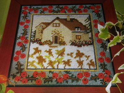 Winter Snowbound Holly Cottage ~ Needlepoint Pattern