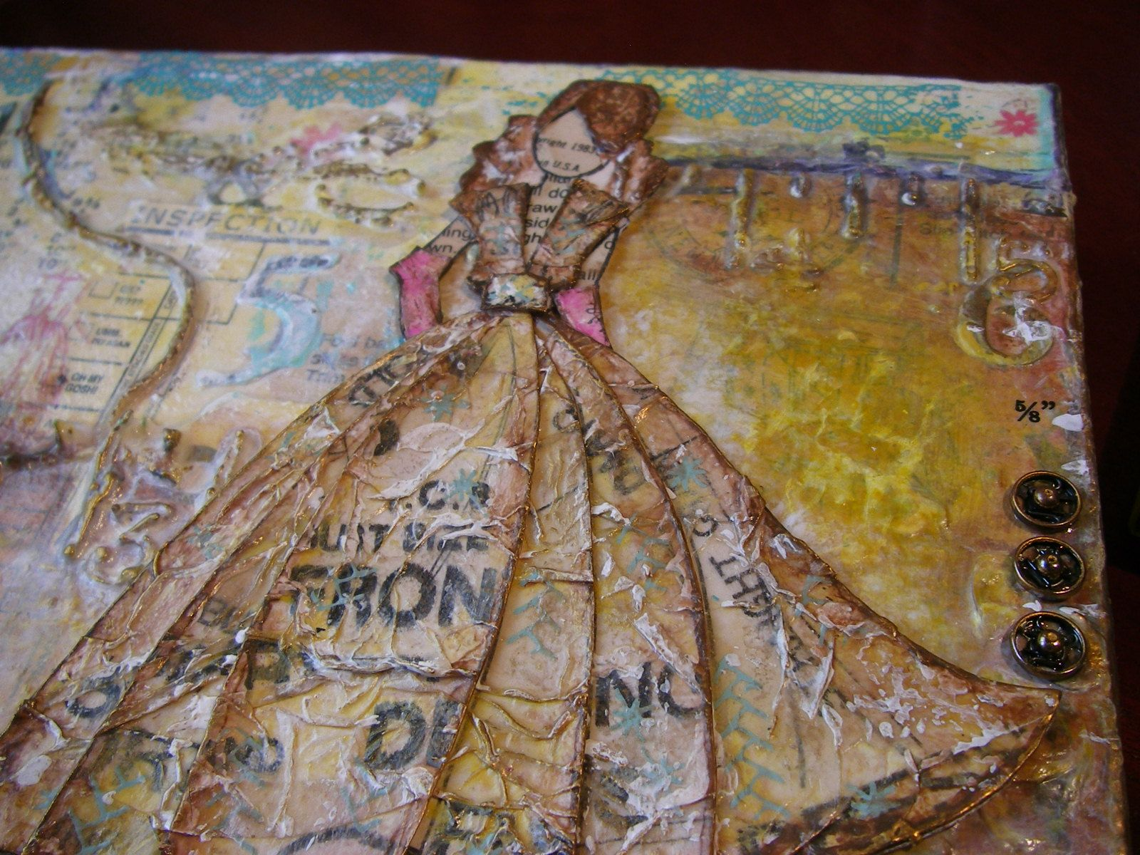 copyright 1983 top right corner mixed media canvas scrappykatzcraftbarn