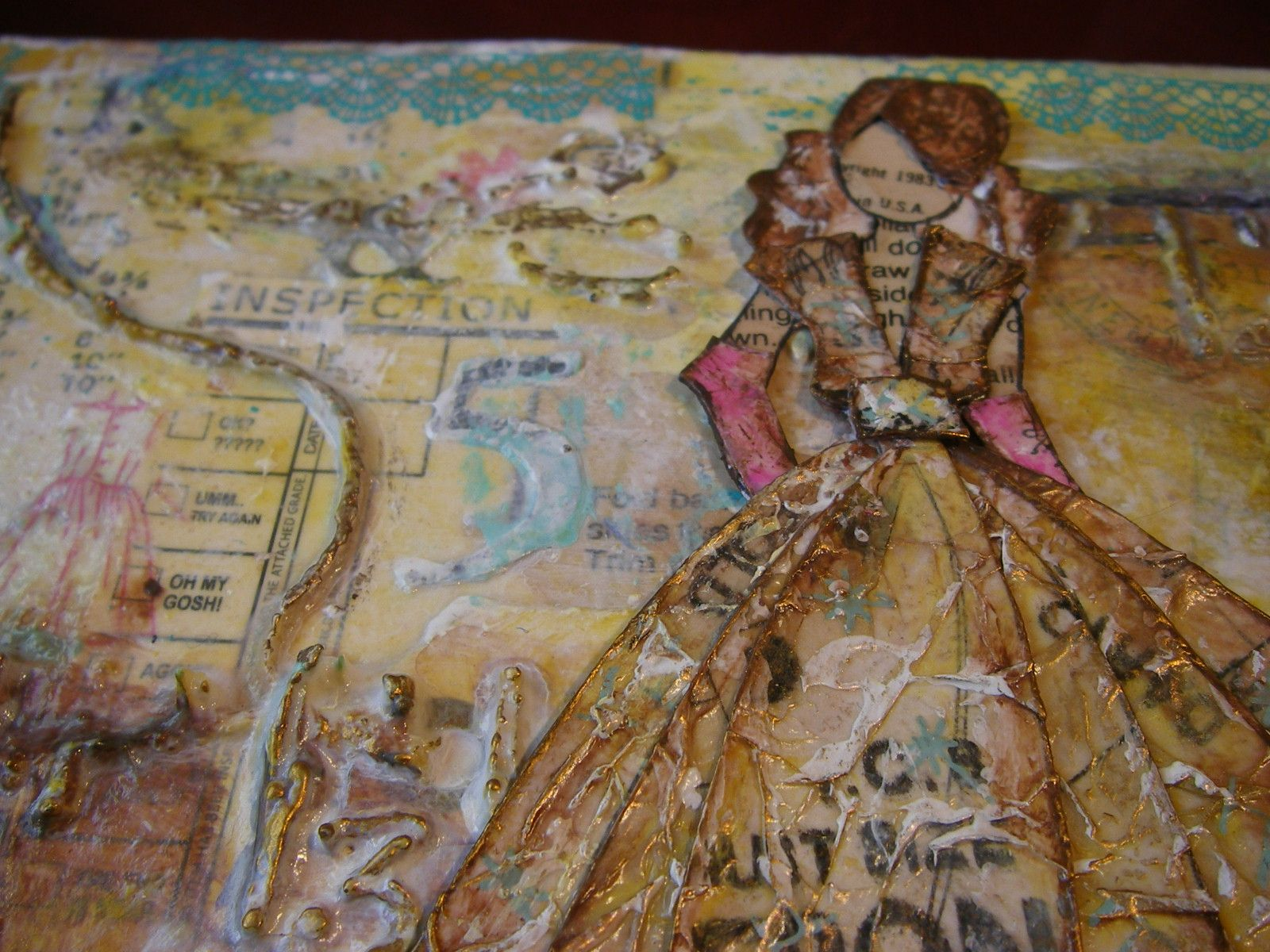 copyright 1983 gold mixed media canvas scrappykatzcraftbarn