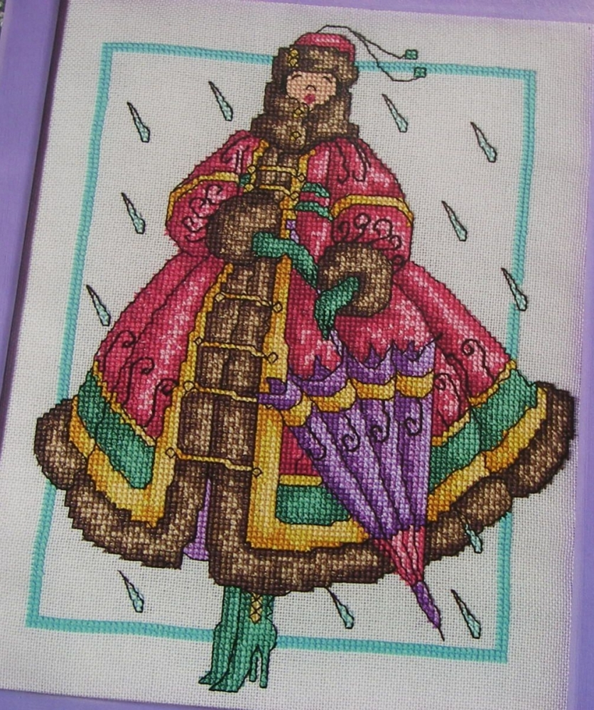 Auumn Fashion Lady in the Rain ~ Cross Stitch Chart