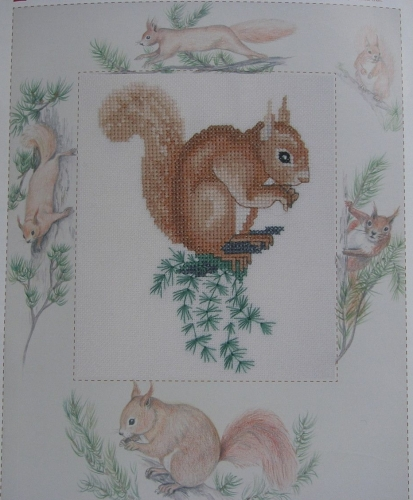 Red Squirrel with Mount & Russian City ~ Two Cross Stitch Chart