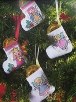 Four Mini Nativity Christmas Tree Stockings ~ Cross Stitch Charts
