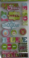 WRMK: White Out Christmas Words ~ Adhesive Chipboard Stickers