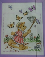 Girl Teddy Chasing Butterflies ~ Cross Stitch Chart