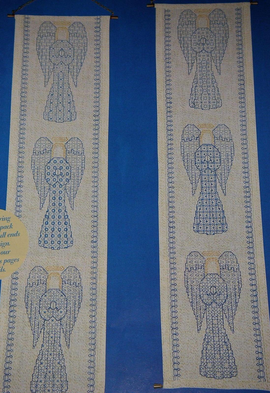 Christmas Angels Bellpull ~ Reversible Blackwork Embroidery Pattern
