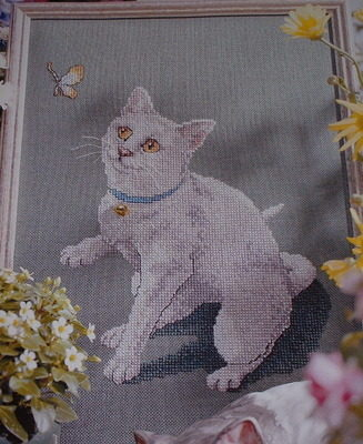 White Cat Chasing Butterfly ~ Cross Stitch Chart