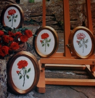 Red Rose in 4 Embroidery Techniques ~ Cross Stitch Blackwork Beadwork Embroidery Patterns