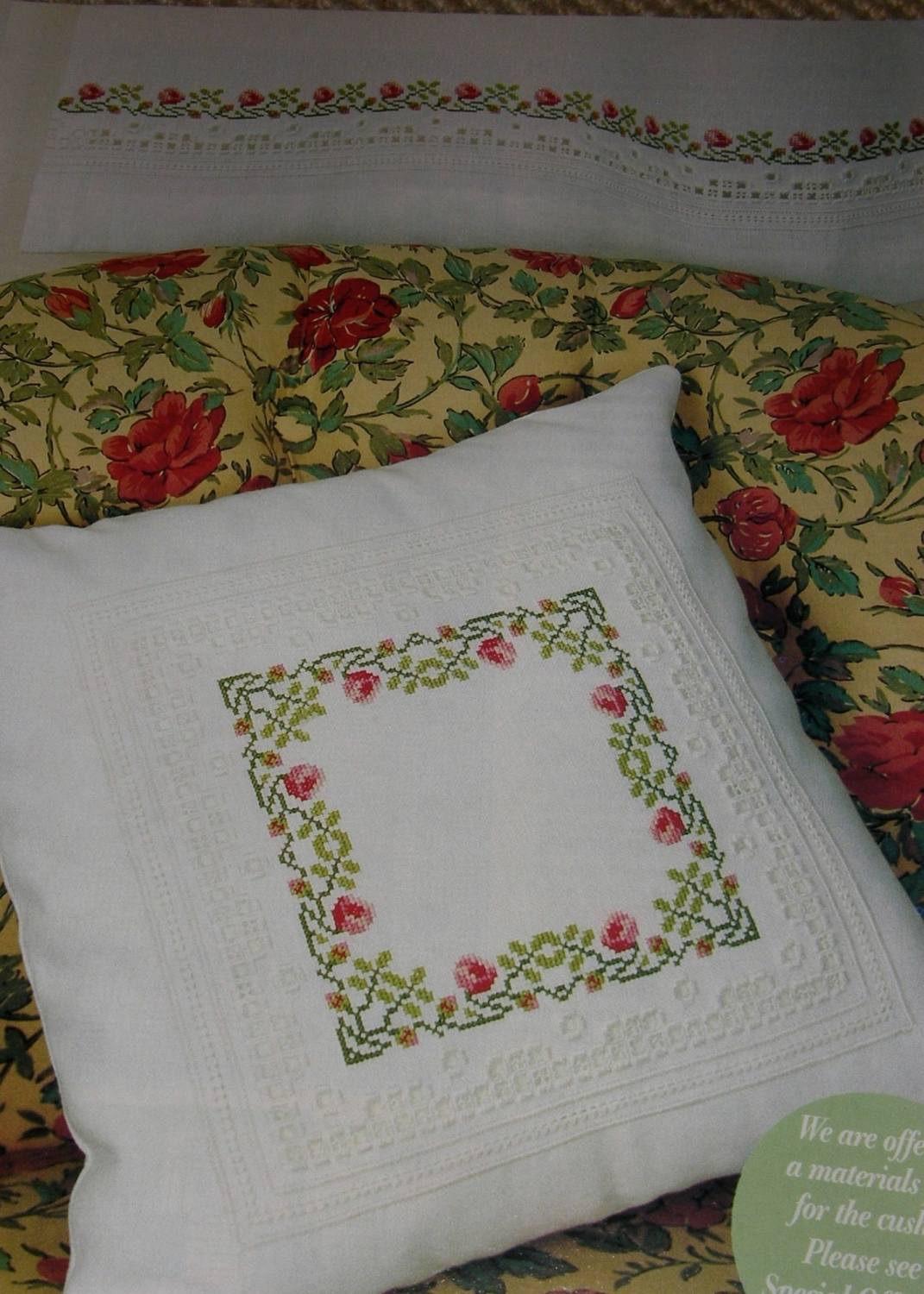 Roses Cushion & Curtains & Place Mats ~ Cross Stitch, Hardanger & Pulled Wo