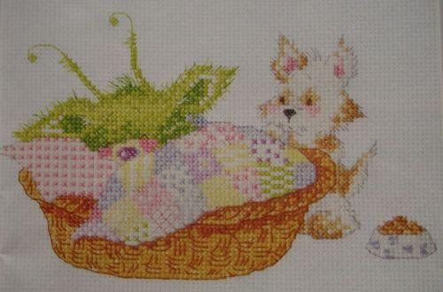 Little Green Monster in Dog Basket ~ Cross Stitch Chart
