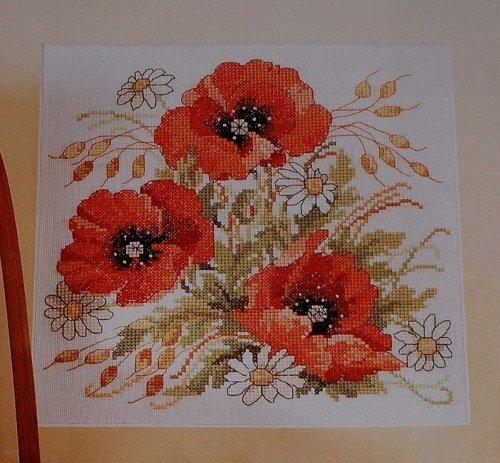 Red Summer Poppies ~ Cross Stitch Chart