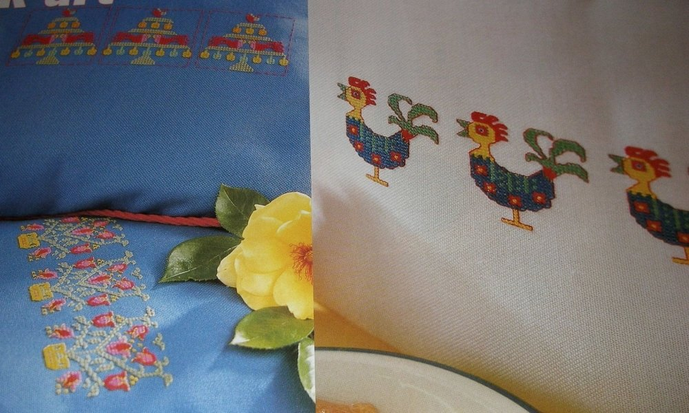 FOUR Folk Art Motifs for Cushions & Cards ~ Cross Stitch Charts