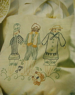 Three Victorian Bathers & Crab Beach Bag ~ Embroidery Pattern