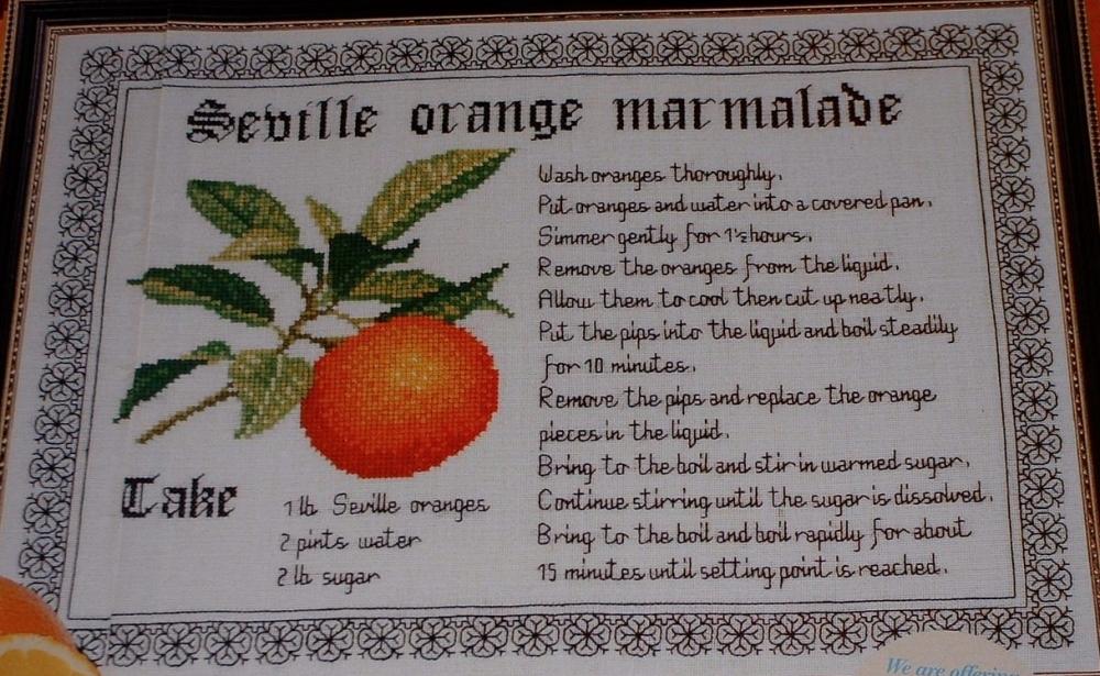 Seville Orange Marmalade Recipe ~ Cross Stitch Chart & Blackwork Pattern