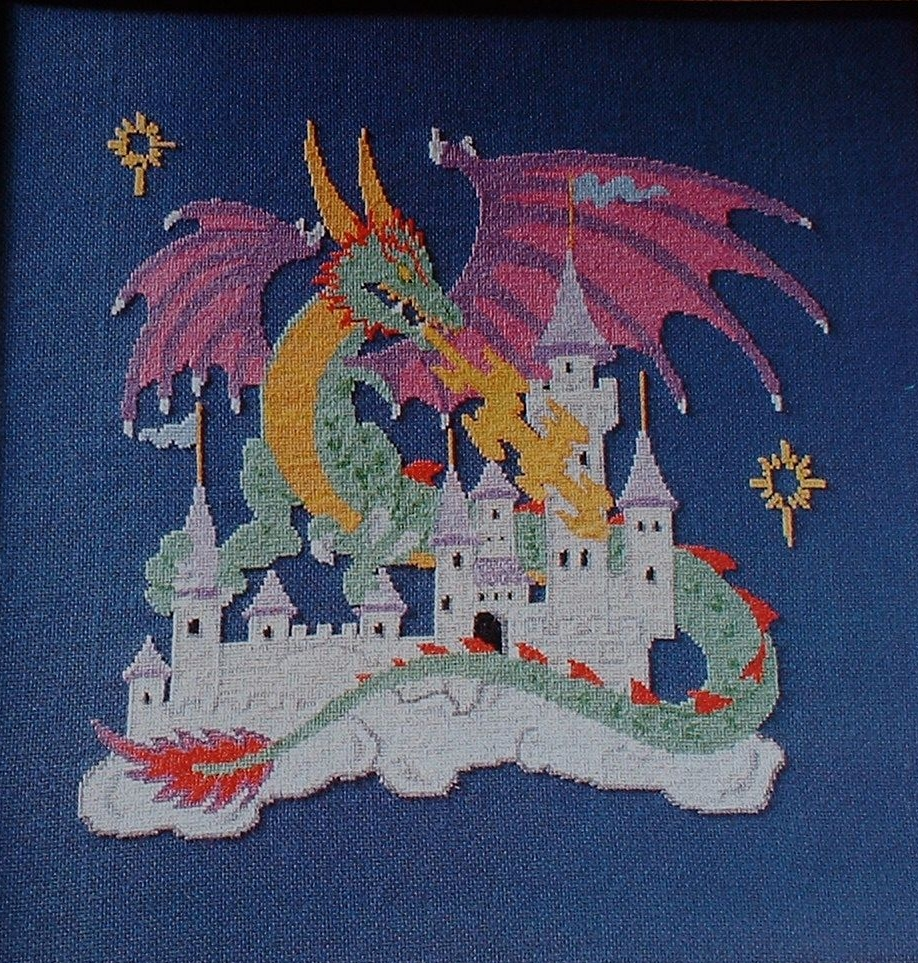 Mythical Dragon & Castle ~ Cross Stitch Chart