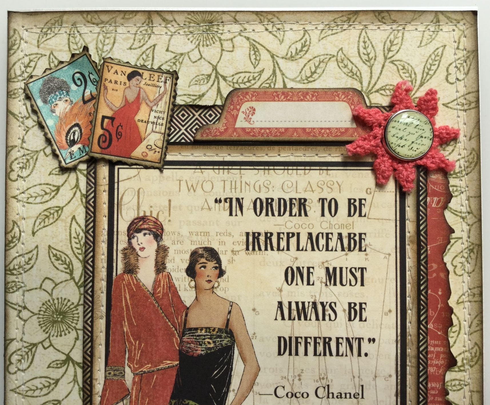 always be different tab coco chanel handmade graphic 45 card