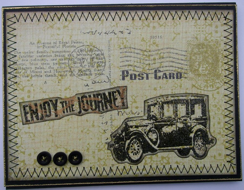 *enjoy the journey* OOAK Handmade Vintage Bon Voyage Card