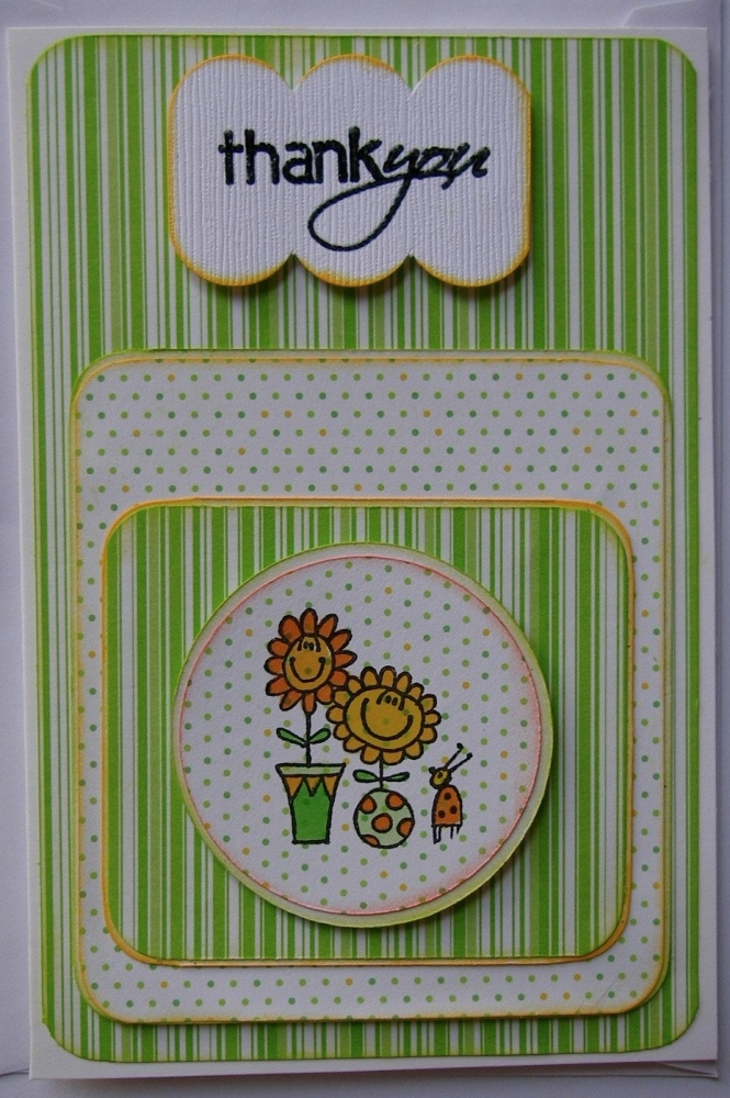 Orange & Green Spots & Stripes ~ OOAK Handmade Thank You Card