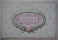 *i love you* OOAK Handmade Pink Hearts Valentine Card