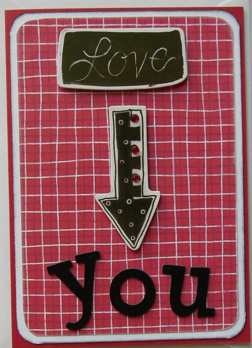 *love you* OOAK Handmade Valentine/Anniversary Card