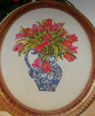 Pink Tulips in a Blue & White Jug ~ Cross Stitch Chart