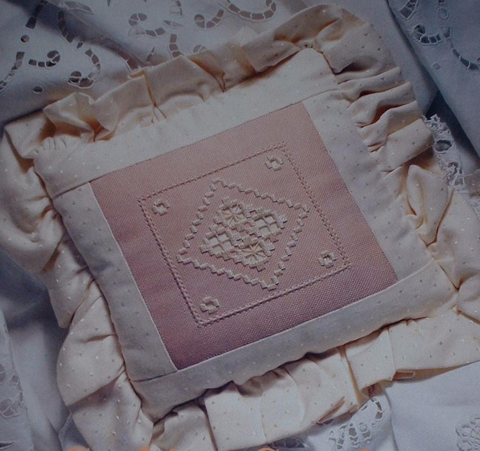 Hardanger Cushion with Ruffle Trim ~ Hardanger Embroidery Pattern
