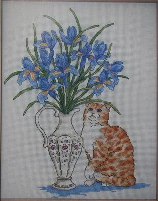 Tabby Cat with Vase of Blue & Purple Irises ~ Cross Stitch Chart