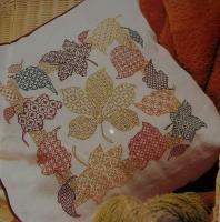 Autumn Leaves Coloured Blackwork Cushion ~ Blackwork Pattern