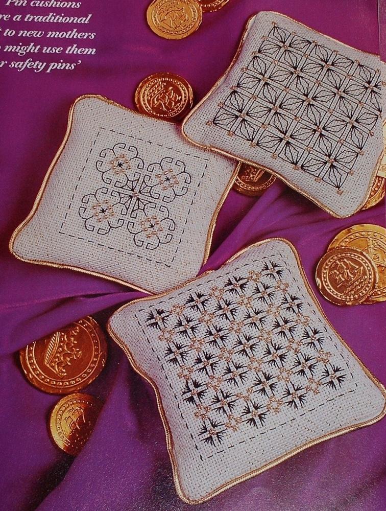 Elizabethan Style Pin Cushions/ Sachets ~ Three Blackwork Patterns