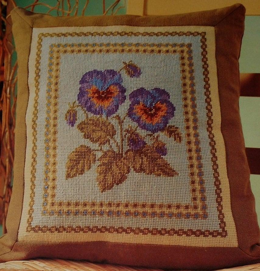 Pansy Cushion ~ Needlepoint Pattern