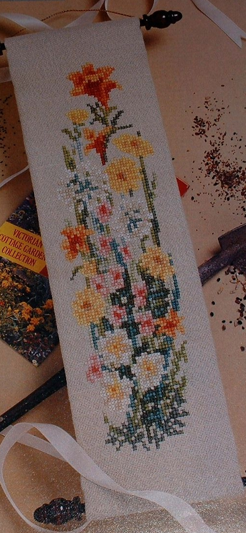 Cottage Garden Flowers Mini Bell Pull ~ Cross Stitch Chart