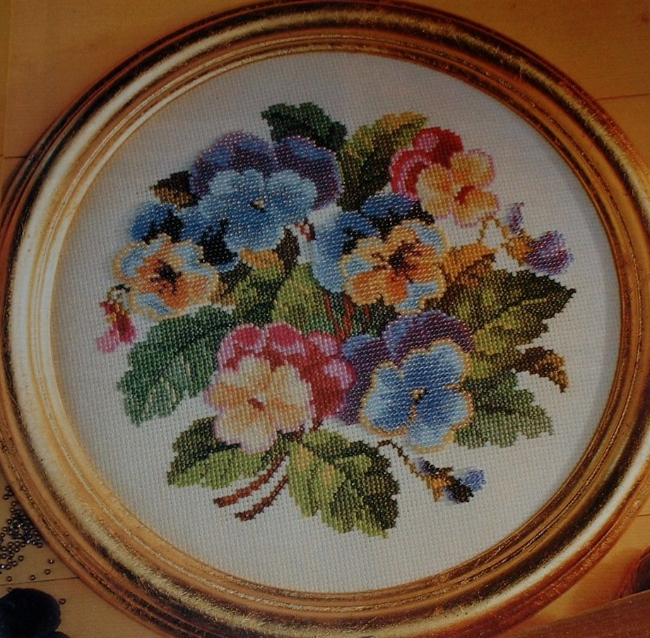 Dimensional Pansies ~ Cross Stitch & Beadwork Chart