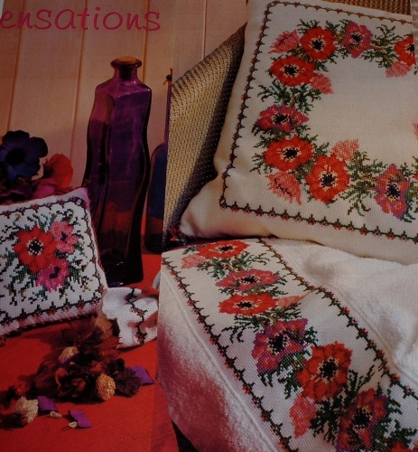 Anemone Cushions & Towel Border ~ Cross Stitch Charts