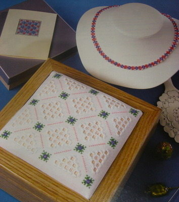 Millefiore Beads Hardanger Box Lid Card Necklace: Embroidery Patterns