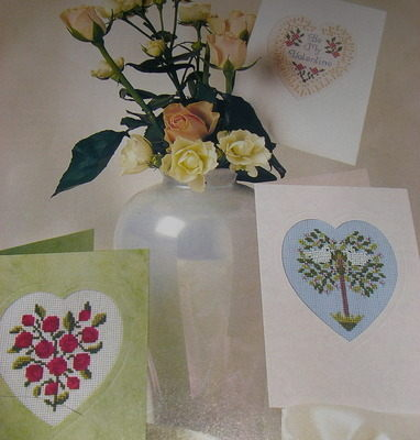 Three Heart Shaped Aperture Card Designs ~ Cross Stitch Charts