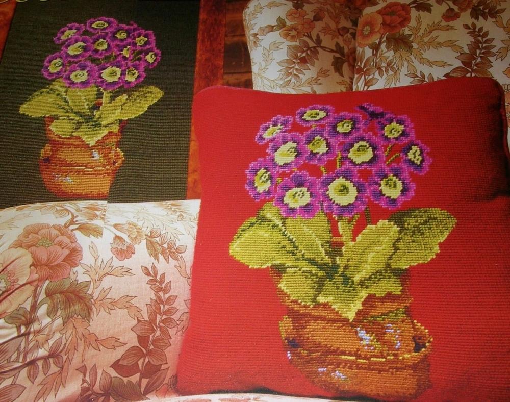 Ehrman Tapestries Pot of Auriculas ~ Needlepoint Chart