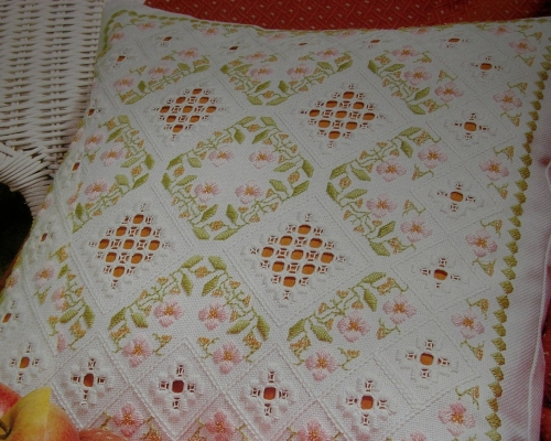 Floral Embroidery & Hardanger Cushion ~ Embroidery Pattern