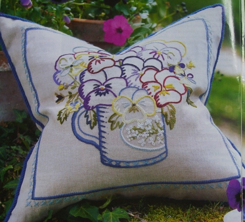 Jacobean Crewelwork Mug of Pansies Cushion ~ Embroidery Pattern