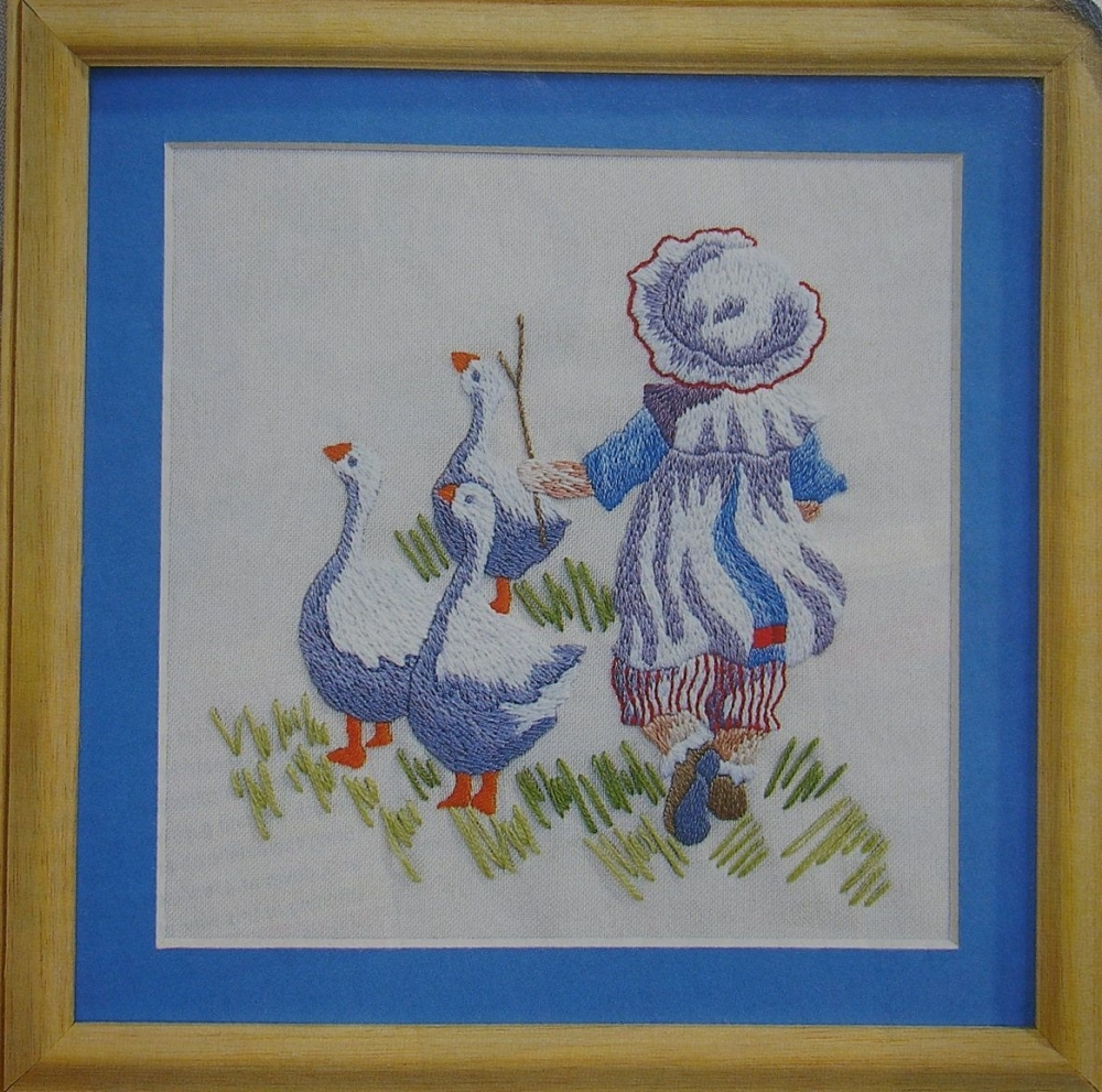 Edwardian Girl Rounding up the Geese ~ Embroidery Pattern