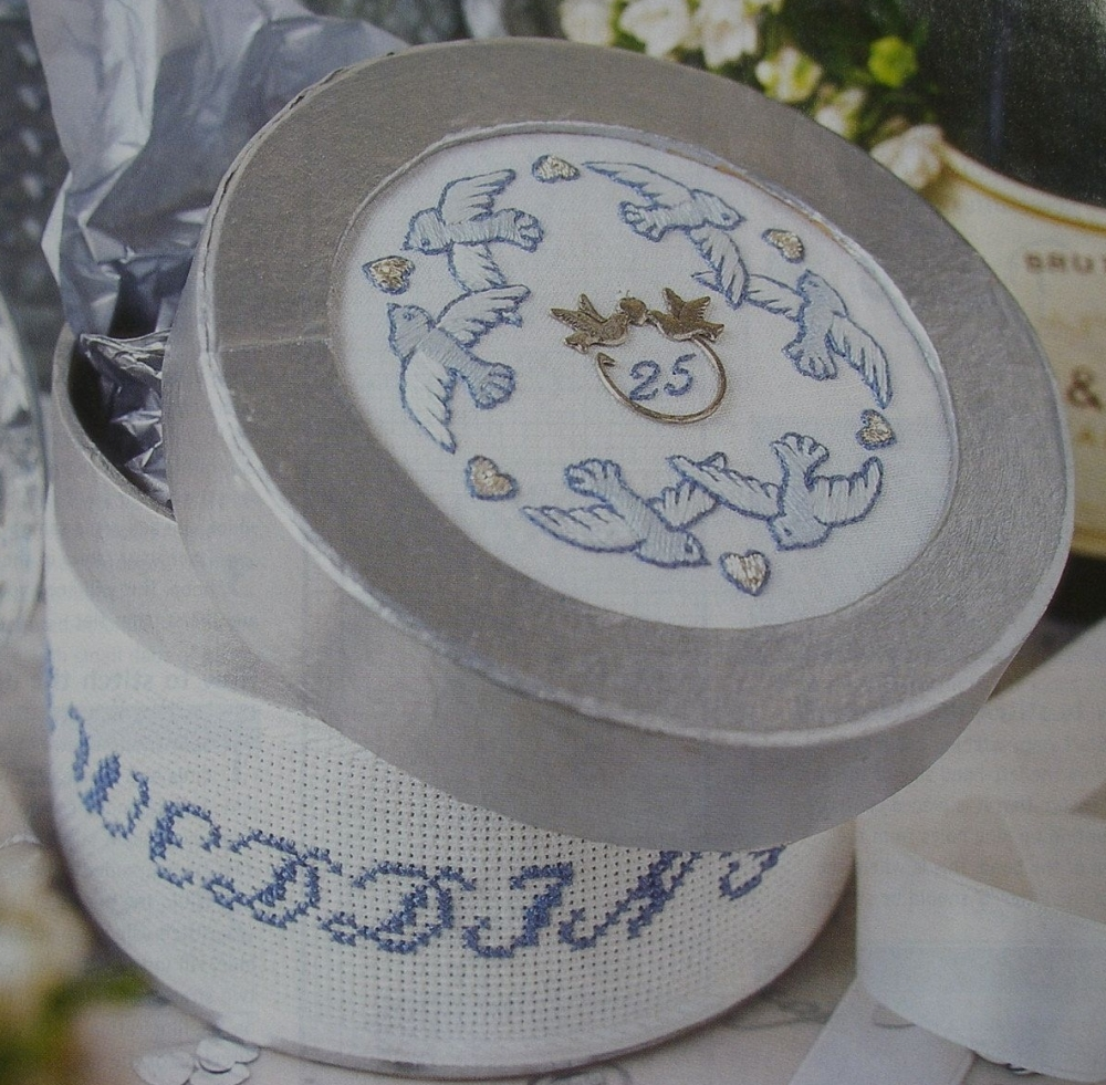 Silver Wedding Anniversary Card/ Box Lid ~ Embrodiery Pattern