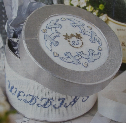 Silver Wedding Anniversary Card/ Box Lid ~ Embrodiery Pattern