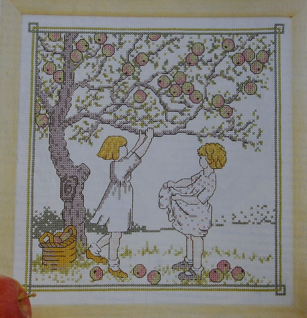 Girls Picking Apples ~ Cross Stitch Chart
