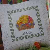Mixed Autumn Flowers Cushion ~ Cross Stitch Chart