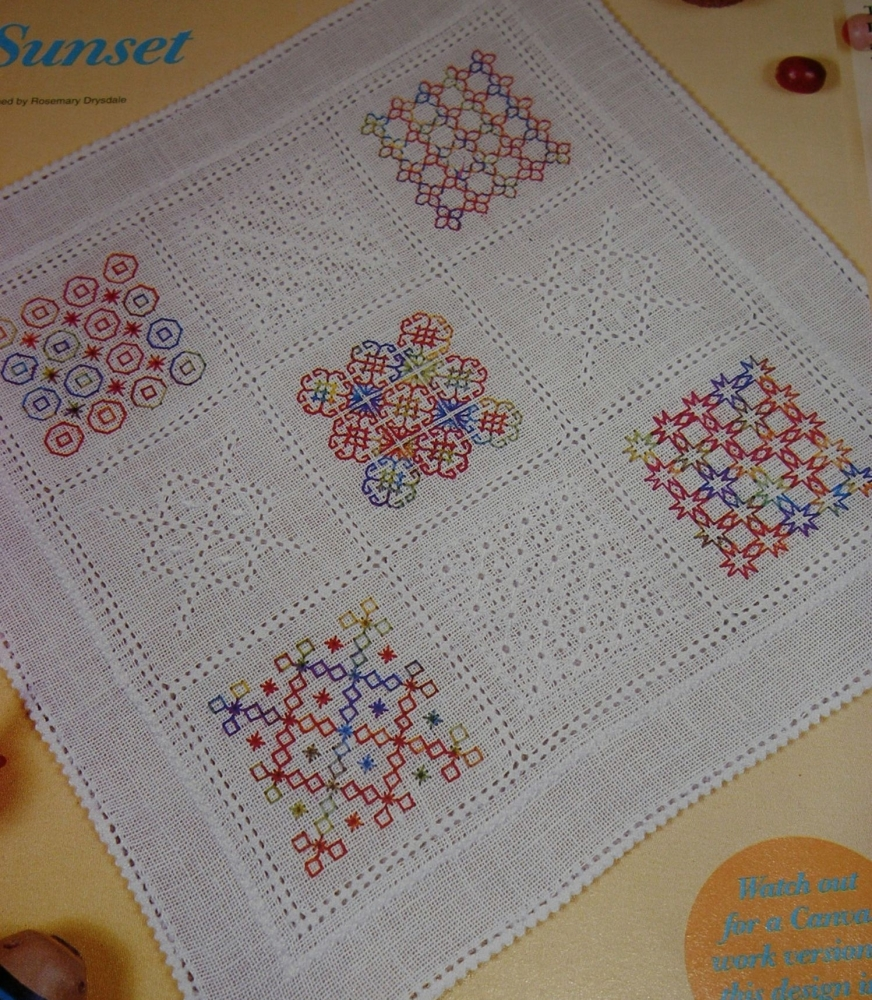 Blackwork & Pulled Work Sampler Mat ~ Embroidery Pattern