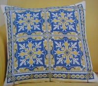 Azulejos Portuguese Tile Cushion ~ Cross Stitch Chart