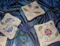 Floral Elizabethan Embroidered Sachets ~ Three Embroidery Patterns