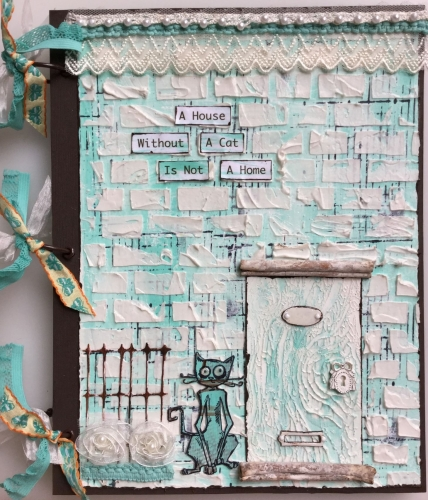 * a house without a cat* Handmade Mixed Media Photo Memory Album