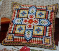 Brightly Coloured Canvas Cushion ~ Canvaswork Pattern