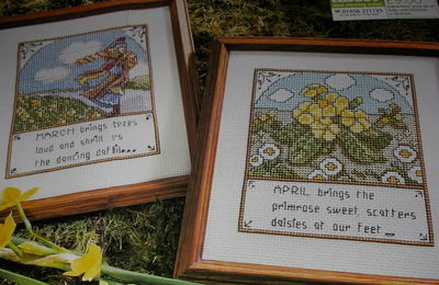 March & April Spring Season Samplers ~ Two Cross Stitch Charts